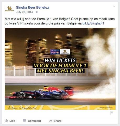 Singha Beer Benelux Redbull Racing winactie