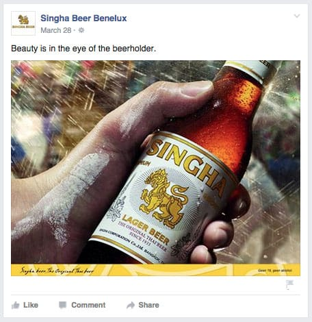 Singha Beer in hand
